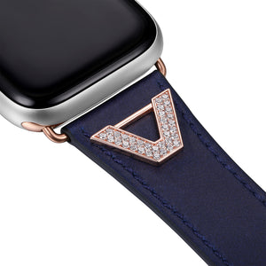 Chevron Leather Apple Watch Strap - Navy Leather & Rose Gold