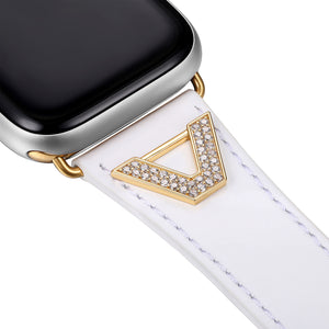 Chevron Leather Apple Watch Strap - White Leather & Gold
