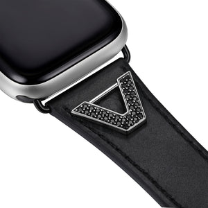 Chevron Leather Apple Watch Strap - Black Leather & Gunmetal
