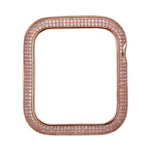 Load image into Gallery viewer, Face view Rose Gold Triple Halo Apple Watch Case jewelry