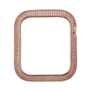 Face view Rose Gold Triple Halo Apple Watch Case jewelry