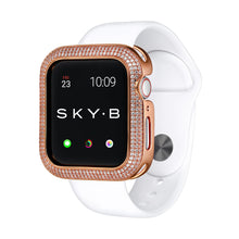 Load image into Gallery viewer, Rose Gold Triple Halo Apple Watch Case jewelry for Women