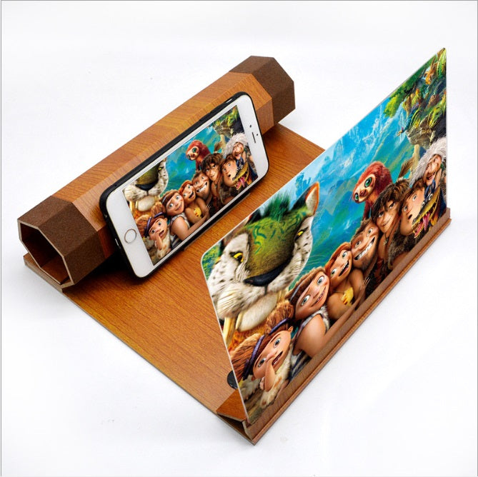 12 Inch Wood Mobile Cell Phone Screen Magnifier 3D Video Amplifier Stand