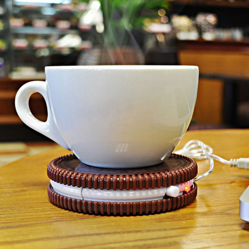 Hot Selling!!!【BUY 2 FREE SHIPPING】Portable Cookie Shape USB Drink Warmer