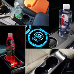 【Buy 4 free shipping】 Led Car Logo Cup Lights up Holder USB Charging  7 Colors Changing