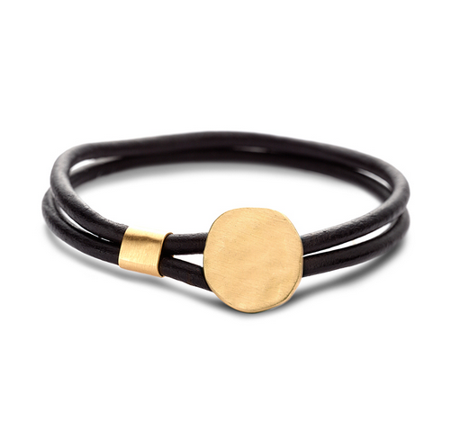 LEATHER LARGE BUTTON BRACELET