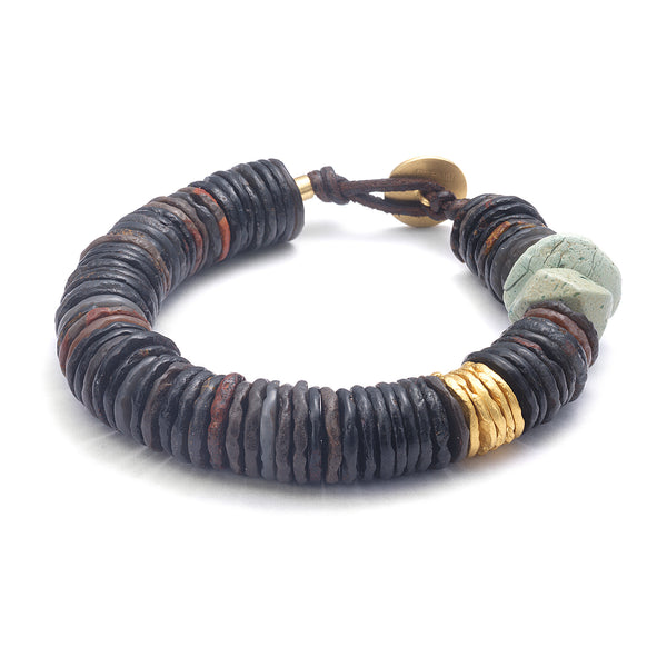 AGATE & GOLD DISC BRACELET WITH TURQUOISE