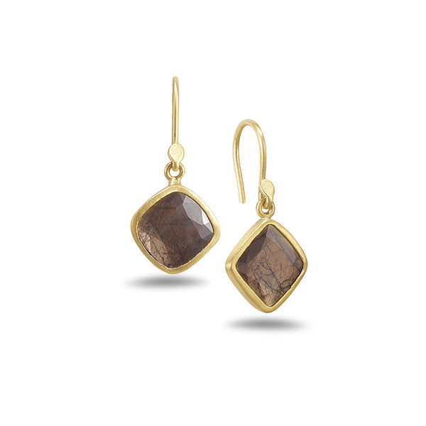 BROWN SAPPHIRE EARRINGS