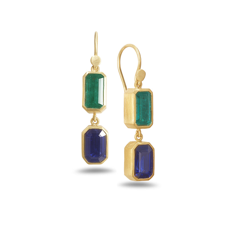 DOUBLE DROP SAPPHIRE AND EMERALD EARRINGS