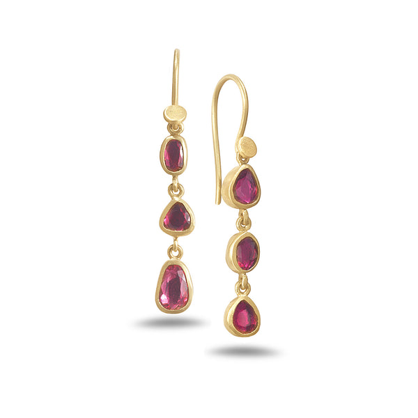 TRIPLE DROP RUBY EARRINGS