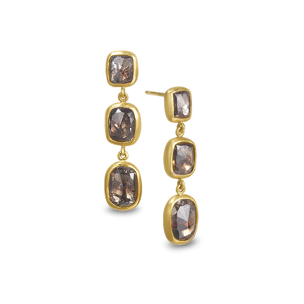 SMOLDERING DIAMOND TRIPLE DROP EARRINGS