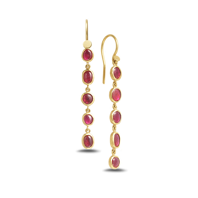 FIVE STONE RUBY EARRINGS