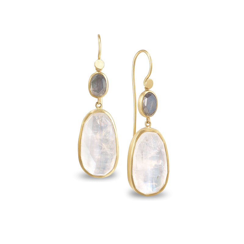 WAXING MOON DOUBLE DROP EARRINGS