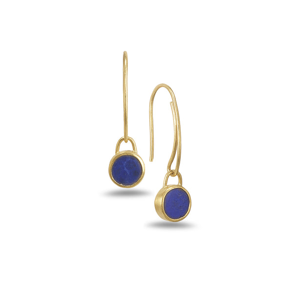 ROUND LAPIS EARRINGS