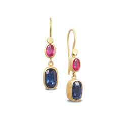 SAPPHIRE AND RUBY DOUBLE DROP EARRINGS