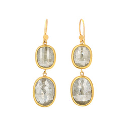 DOUBLE DROP RUSTIC DIAMOND EARRINGS