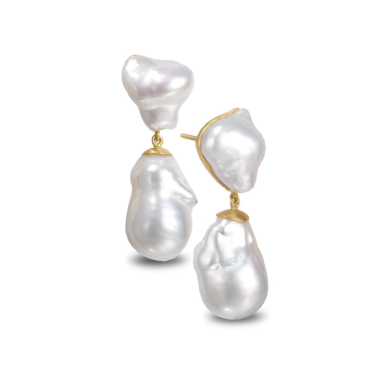 GLACIAL PEARL DOUBLE DROP EARRINGS