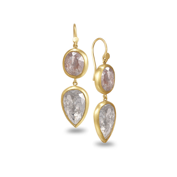 RUSTIC PINK DIAMOND EARRINGS