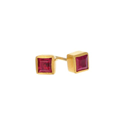 SQUARE RED RUBY EARRINGS