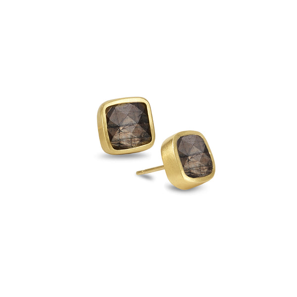 SQUARE BROWN SAPPHIRE STUD EARRINGS