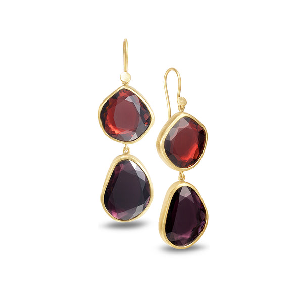 DOUBLE DROP SPINEL AND GARNET EARRINGS