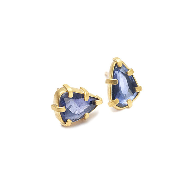 CAGED SAPPHIRE STUD EARRINGS