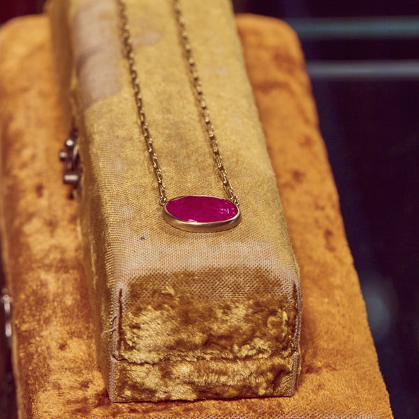RUBY PENDANT ON HAND FORGED CHAIN