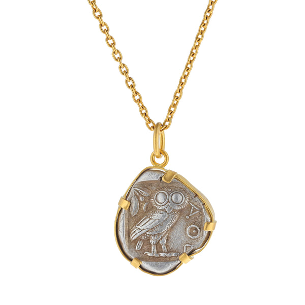 OWL OF ATHENA COIN NECKLACE
