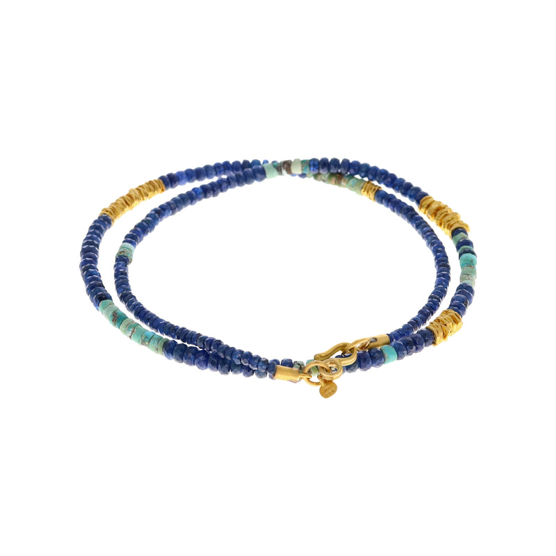 STRAND OF SAPPHIRE BEADS NECKLACE