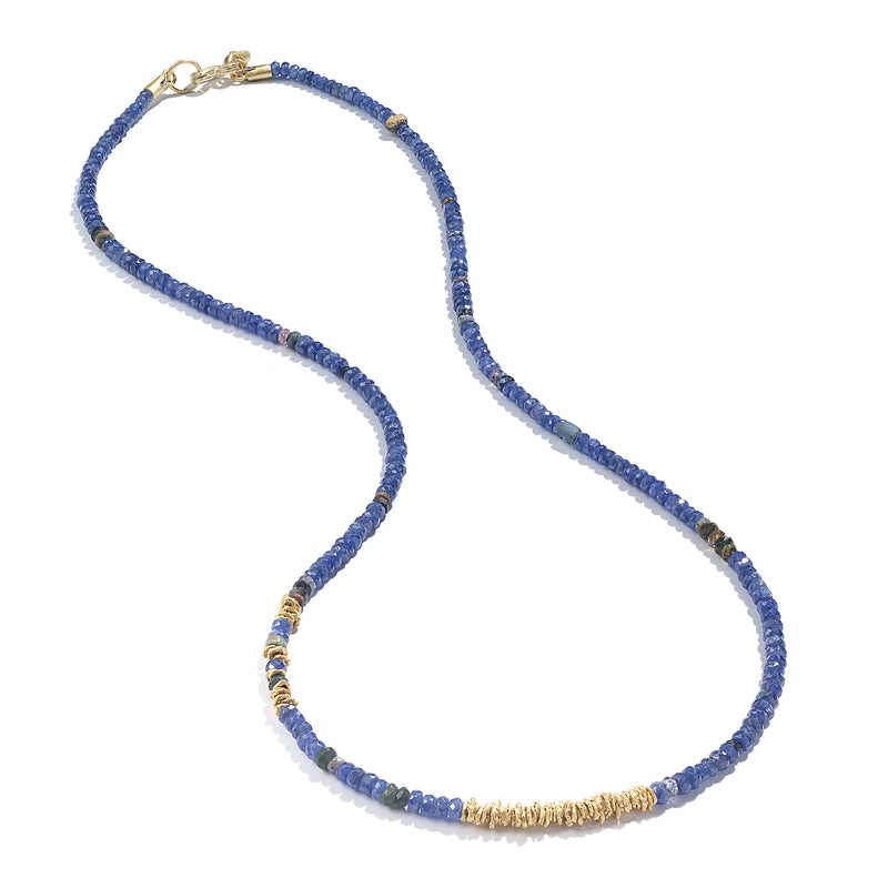 BLUE SAPPHIRE STRAND NECKLACE WITH GOLD DISCS