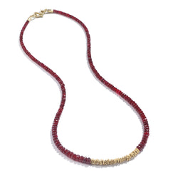 STRAND OF RUBY BEADS NECKLACE - 16""