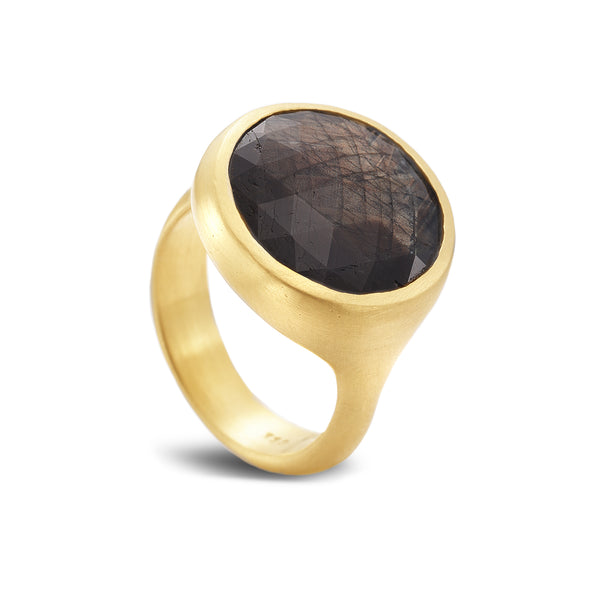 ROUND BROWN SAPPHIRE RING