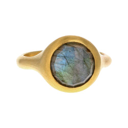 LABRADORITE ROSE CUT RING