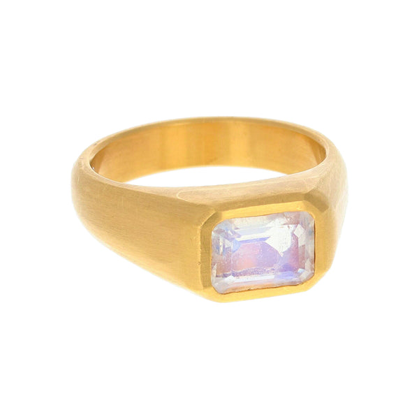 OCTAGONAL MOONSTONE RING