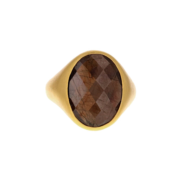 OVAL ROSE CUT BROWN SAPPHIRE RING