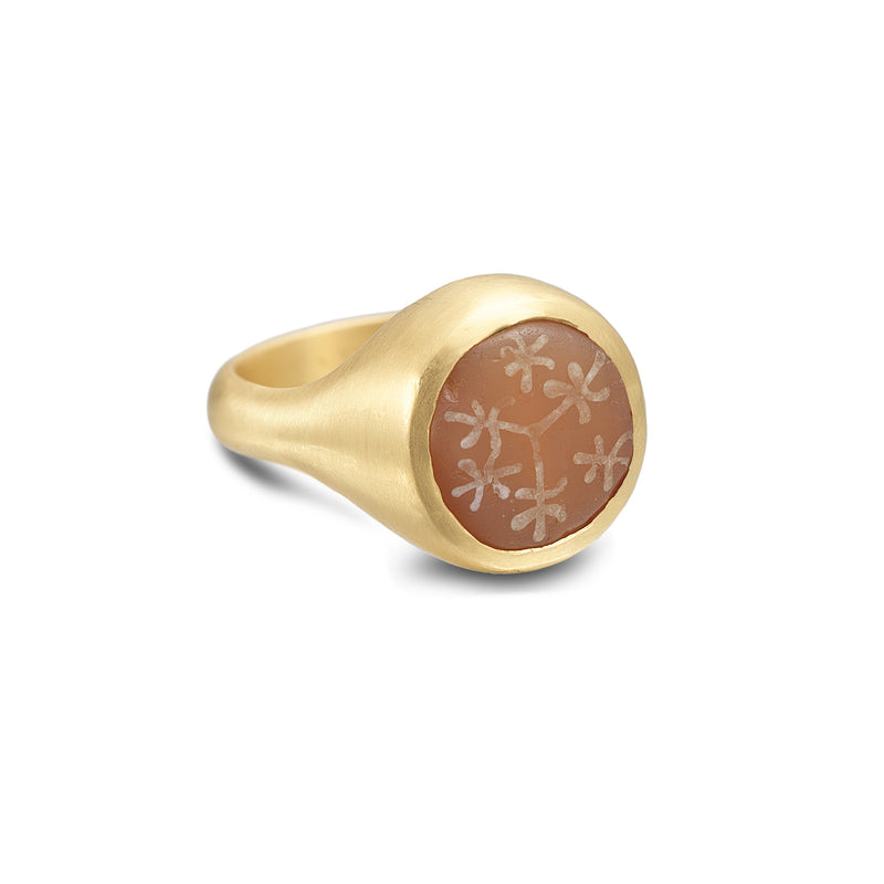 ETCHED CARNELIAN RING