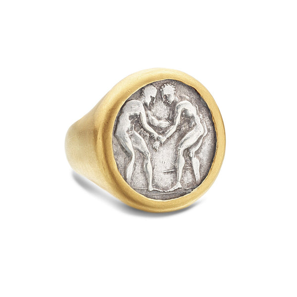 ANCIENT GREEK PALé COIN RING