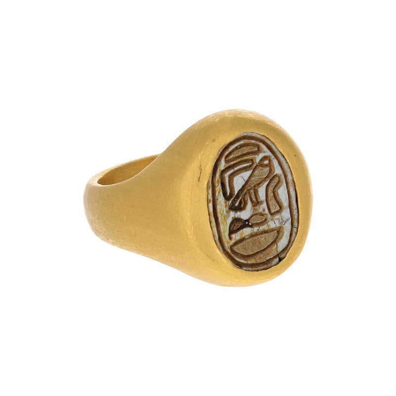 ENGRAVED EGYPTIAN SCARAB RING