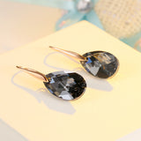 Black Crystal Earrings For Women, Ladies Sterling Silver Hypoallergenic Drop Earring Made with Crystal From Swarovski