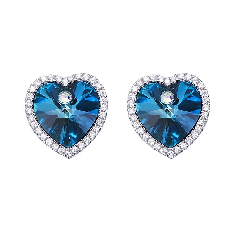 925 Sterling Silver Heart Crystal Earrings