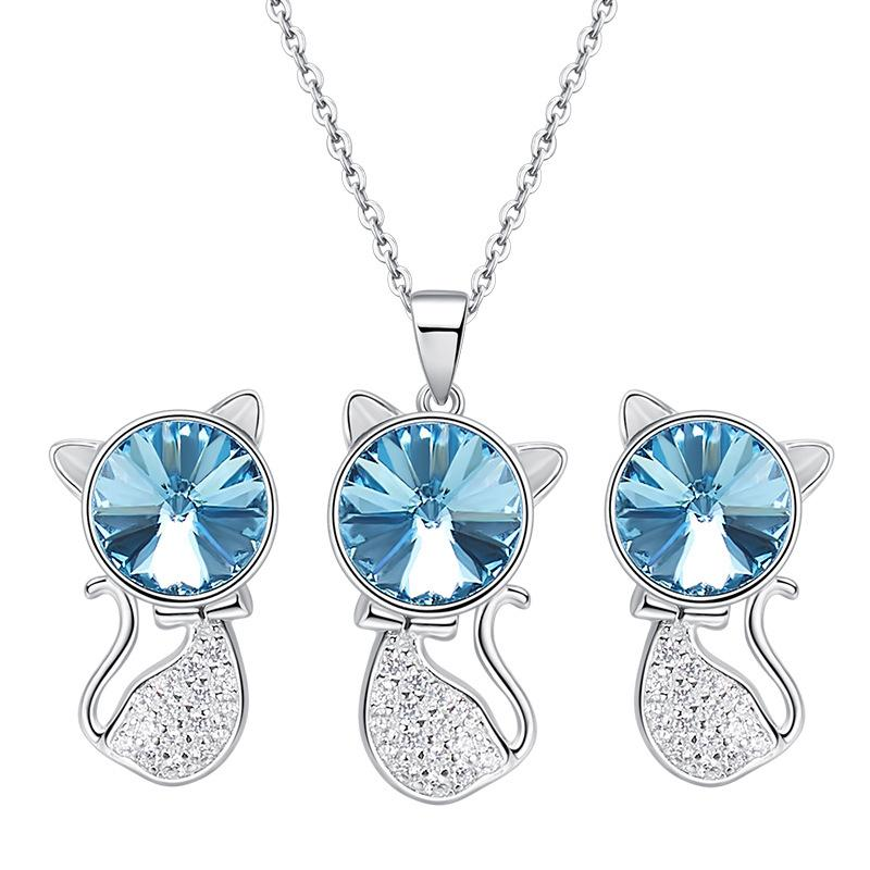 Blue Crystal Cat Necklace Earrings Jewelry Set