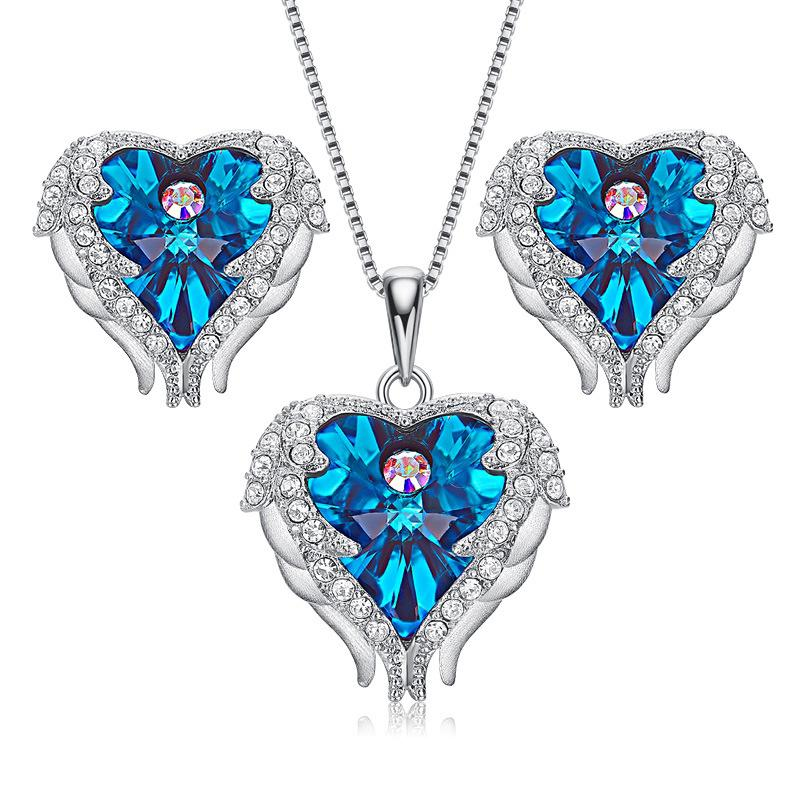 Angel Wing Crystal Pendant Necklace Heart of Ocean Stud Earrings Set Made With Crystal From Swarovski