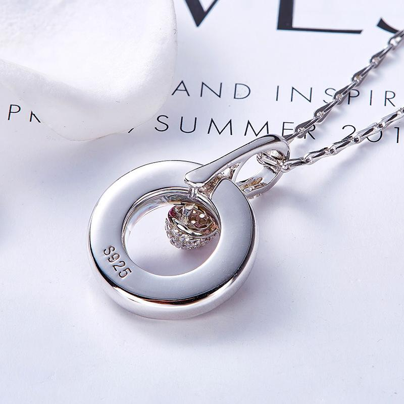 925 Sterling Silver Circle Ring Pendant Necklace Made With Crystal From Swarovski