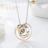 Three Cascading Circle Rings Crystal Necklace