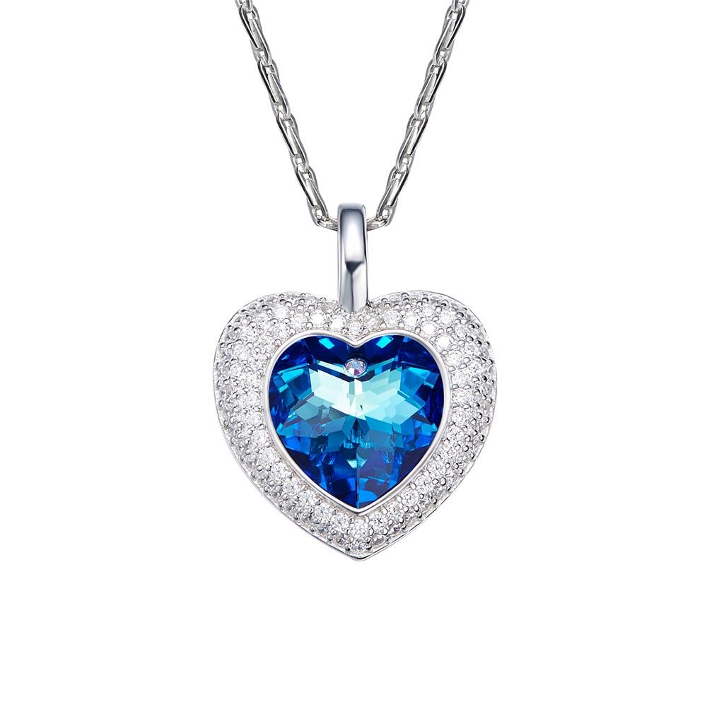 Heart of The Ocean Women Blue Crytal Pendant Necklace Made With Crystal From Swarovski