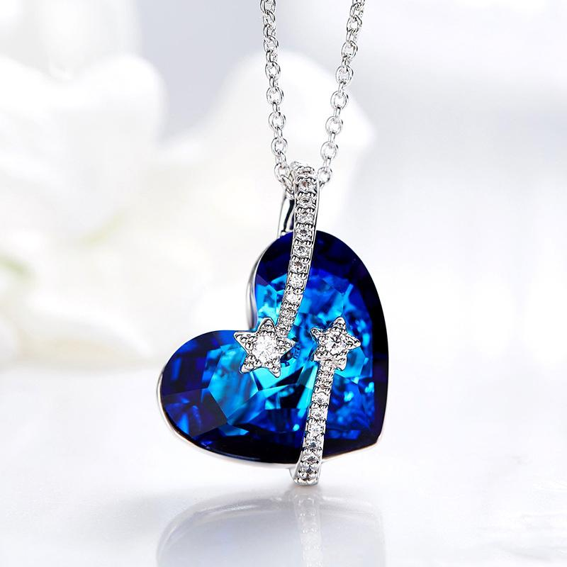 Stay for Love Blue Pendant Necklace Made With Crystal From Swarovski