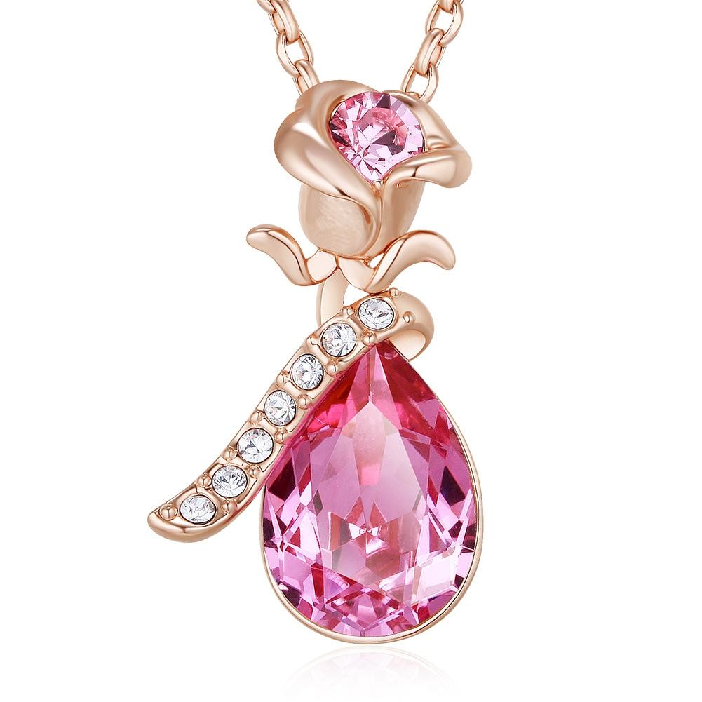 Rose Flower Pendant Necklace Pink Made With Crystal From Swarovski