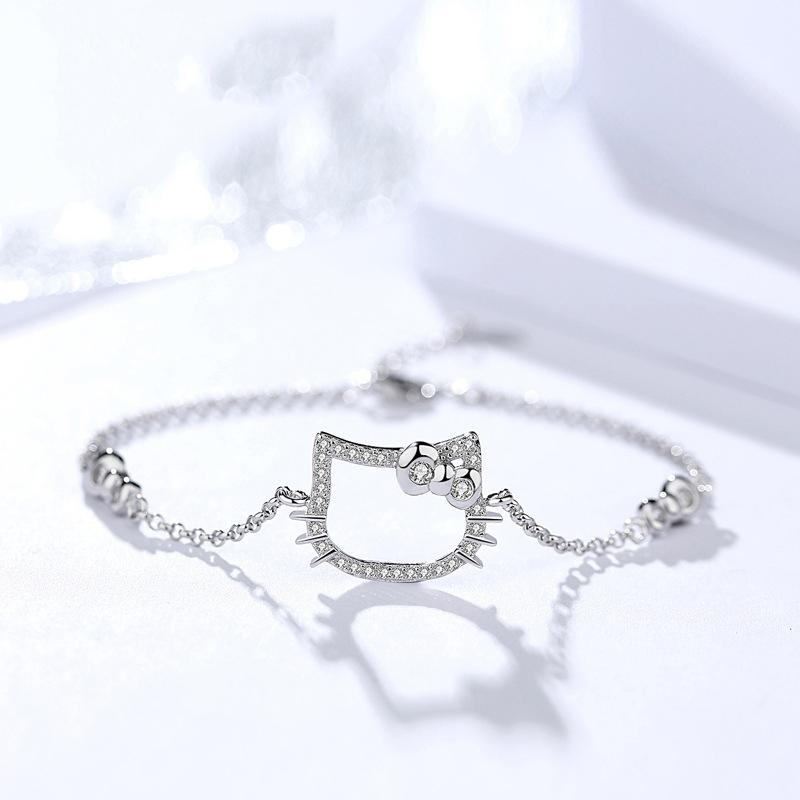 925 Sterling Silver Expandable Cat Adjustable Chain Bracelet for Women Girls