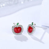 925 Sterling Silver Red Apple Earrings