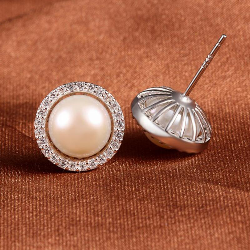 925 Sterling Silver Freshwater Cultured Pearl & Cubic Zirconia Earrings
